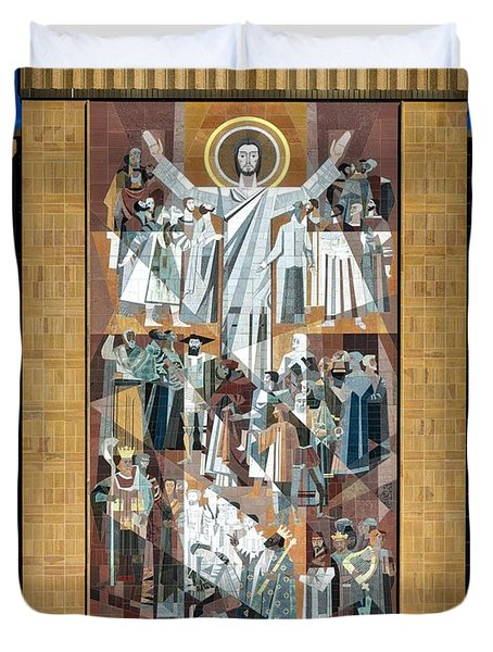 Touchdown Jesus - Hesburgh Library Duvet Cover
