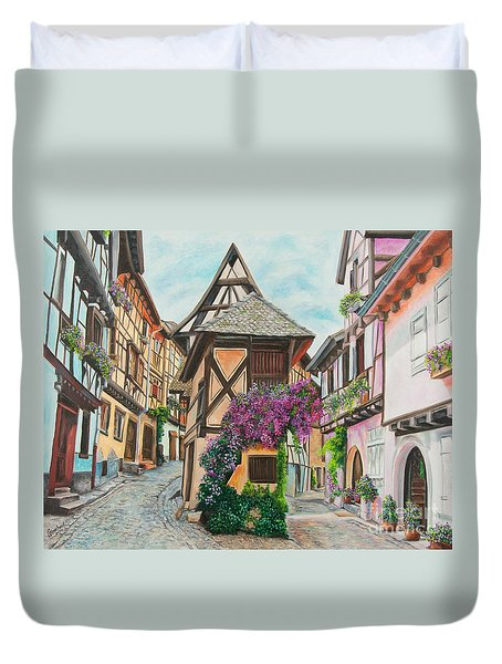 Touring In Eguisheim Duvet Cover by Charlotte Blanchard
