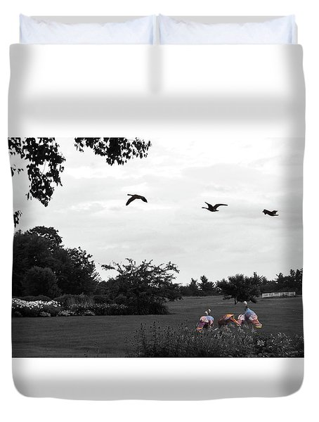 Touring New England-black And White-selective Coloring Duvet Cover