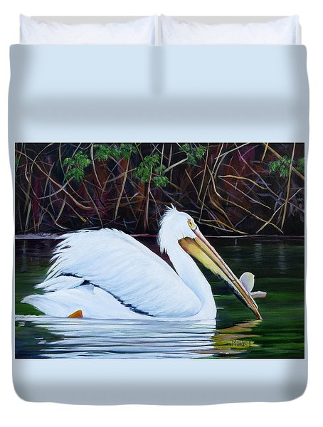 Touring Pelican Duvet Cover by Marilyn McNish