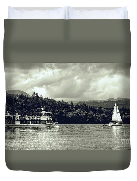 Touring The Lakes In Sepia Duvet Cover