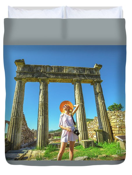 Tourist Traveler Photographer Duvet Cover