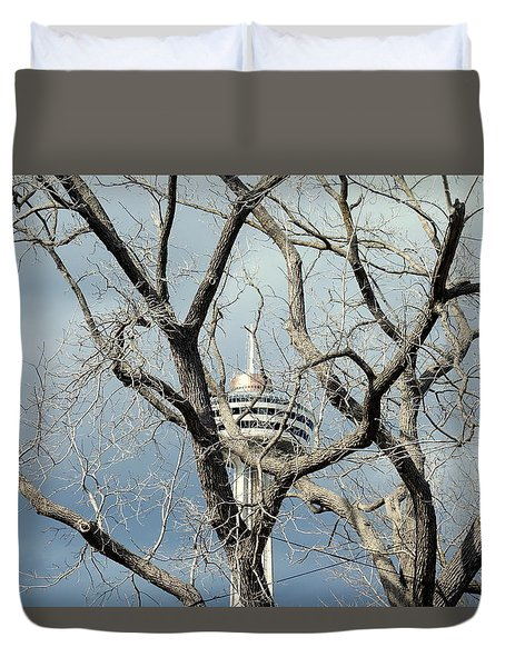 Duvet Cover featuring the photograph Tower And Trees by Valentino Visentini