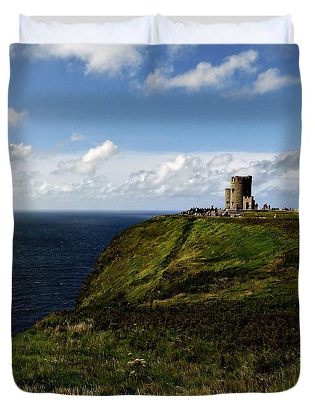 Duvet Cover featuring the photograph Tower At Cliffs Of Moher by Michelle Joseph-Long