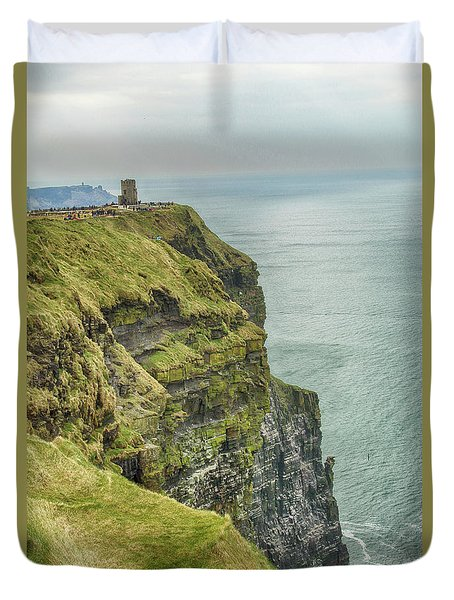 Duvet Cover featuring the photograph Tower At The Cliffs Of Moher by Marie Leslie