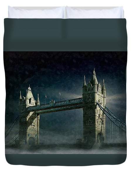 Tower Bridge In Moonlight Duvet Cover