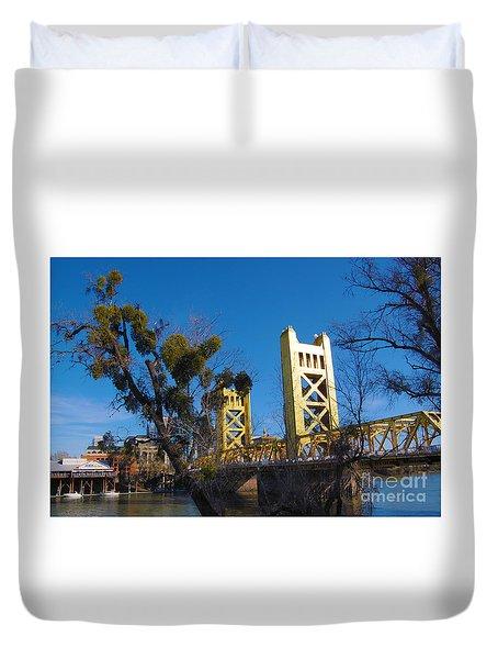 Duvet Cover featuring the photograph Tower Bridge Old Sacramento by Debra Thompson