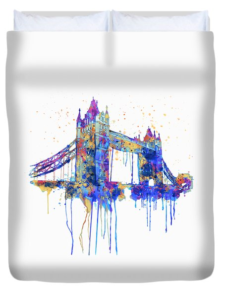 Tower Bridge Watercolor Duvet Cover by Marian Voicu