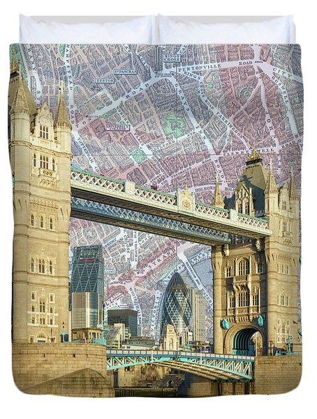 Duvet Cover featuring the digital art Tower Bridge With Union Jack by Adam Spencer