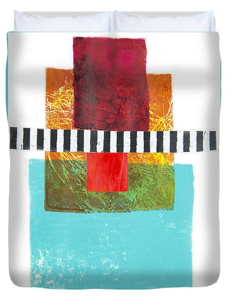 Duvet Cover featuring the mixed media Tower by Elena Nosyreva