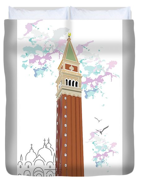 Tower Of Campanile In Venice Duvet Cover
