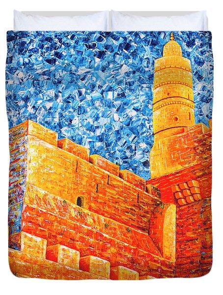 Tower Of David At Night Jerusalem Original Palette Knife Painting Duvet Cover
