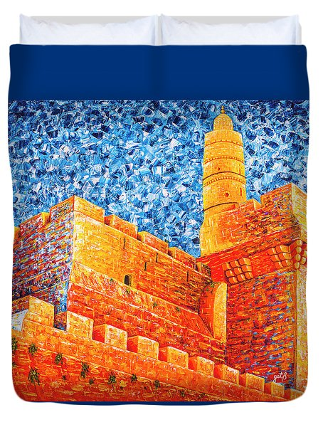 Duvet Cover featuring the painting Tower Of David At Night Jerusalem Original Palette Knife Painting by Georgeta Blanaru