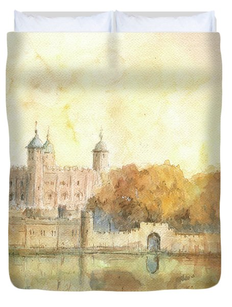 Tower Of London Watercolor Duvet Cover