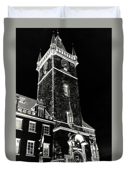 Duvet Cover featuring the photograph Tower Of Old Town Hall In Prague. Black by Jenny Rainbow