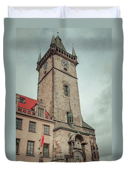 Duvet Cover featuring the photograph Tower Of Old Town Hall In Prague by Jenny Rainbow