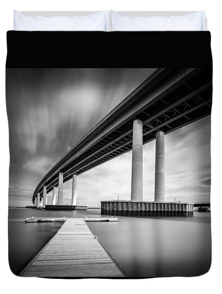 Duvet Cover featuring the photograph Towering Bridge by Gary Gillette