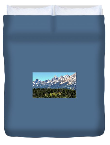 Towering Teton Range  Duvet Cover