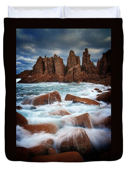 Towers In The Sea Duvet Cover by Tim Nichols
