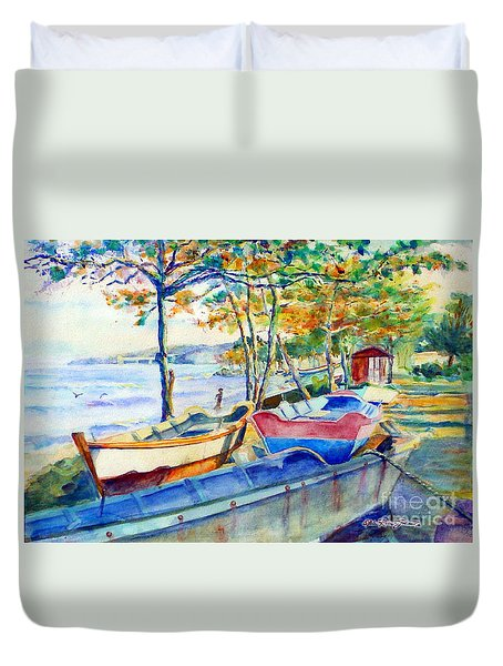 Town Fishery Duvet Cover by Estela Robles