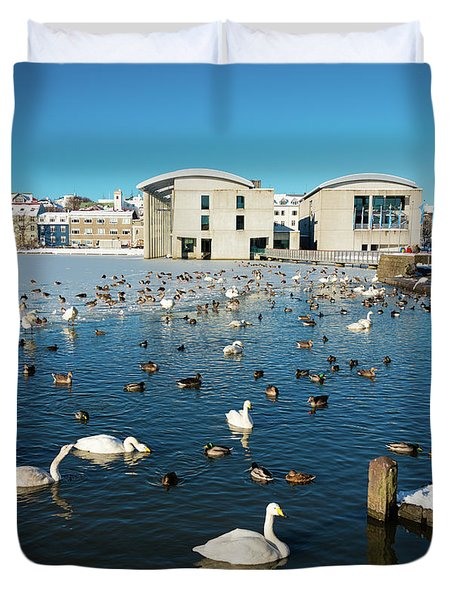 Town Hall And Swans In Reykjavik Iceland Duvet Cover by Matthias Hauser