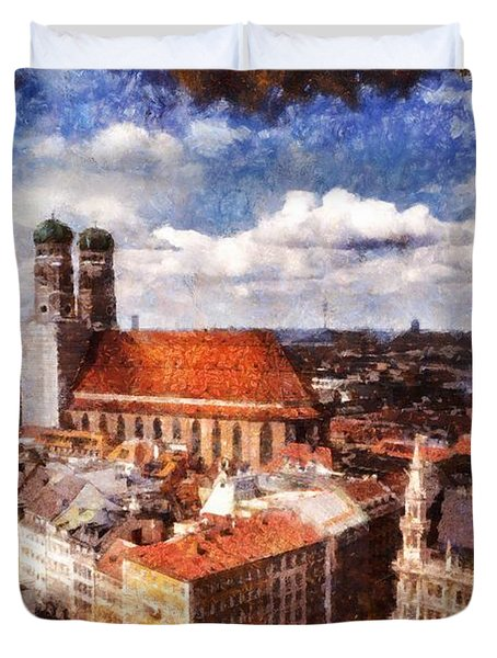 Town Hall. Munich Duvet Cover