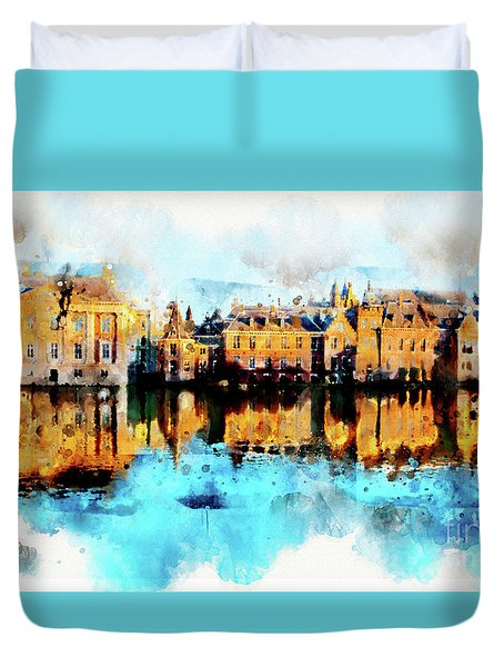 Duvet Cover featuring the digital art Town Life In Watercolor Style by Ariadna De Raadt