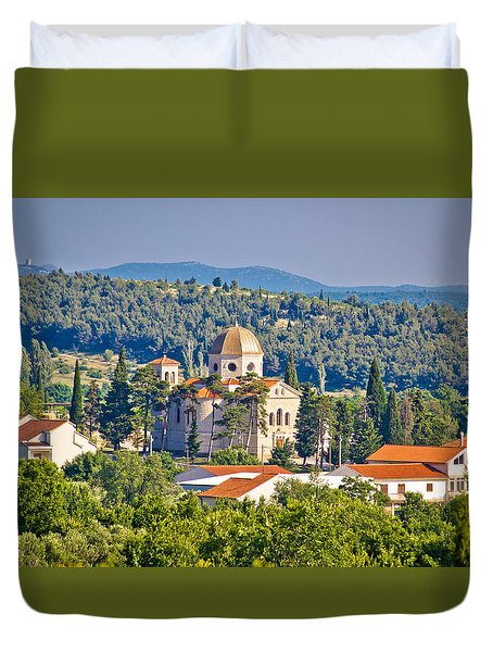 Town Of Benkovac Church View Duvet Cover by Brch Photography