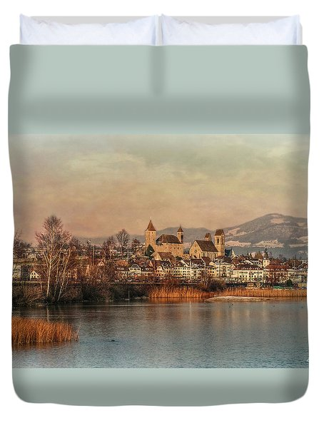 Duvet Cover featuring the photograph Town Of Roses by Hanny Heim