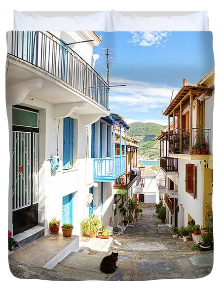 Town Of Skopelos Duvet Cover by Evgeni Dinev