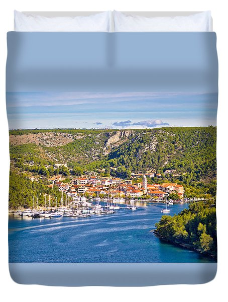 Town Of Skradin On Krka River Duvet Cover by Brch Photography