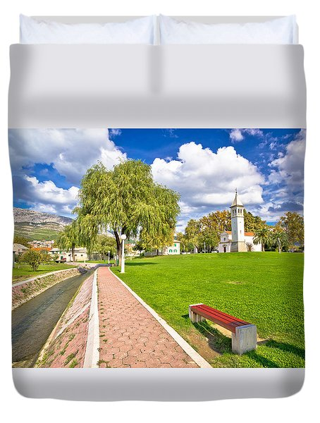 Town Of Solin Church And Park Duvet Cover by Brch Photography