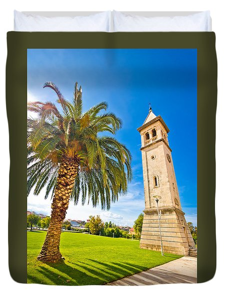 Town Of Solin Church Tower Duvet Cover by Brch Photography