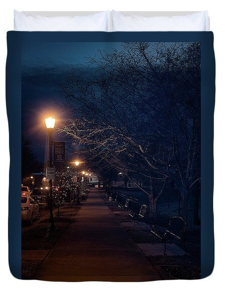 Town Street A Night Duvet Cover