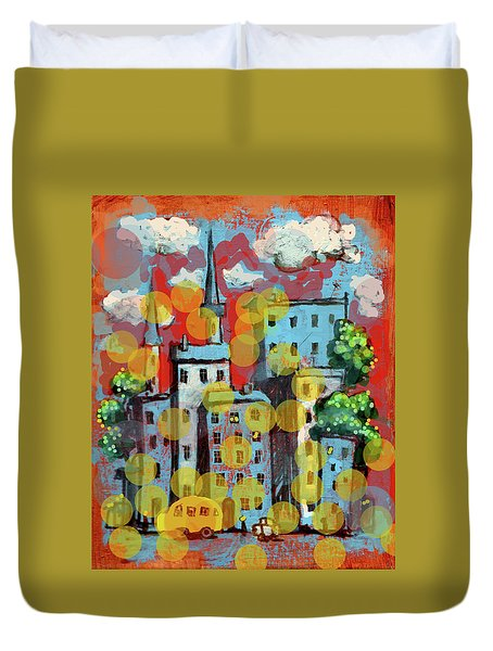 Town With A School Bus Duvet Cover