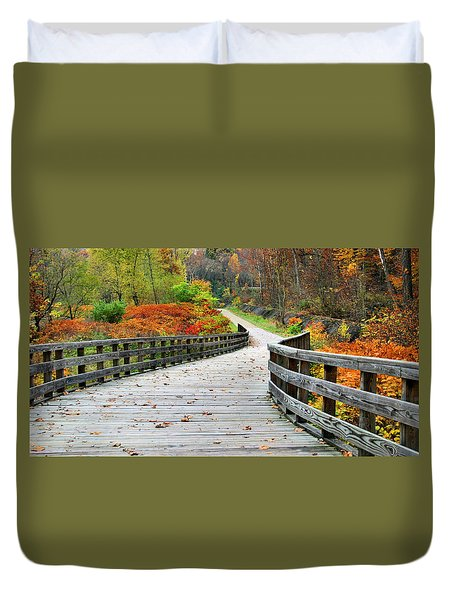 Towpath In Summit County Ohio Duvet Cover by Kristin Elmquist
