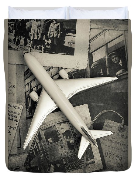 Toy Airplane Vintage Travel Duvet Cover by Edward Fielding