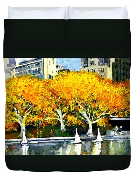 Toy Boats In The Park Duvet Cover