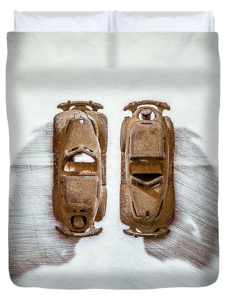 Toy Car On White Duvet Cover by Yo Pedro