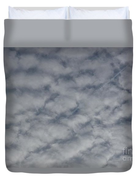 Trace Of Airplane Duvet Cover by Jean Bernard Roussilhe