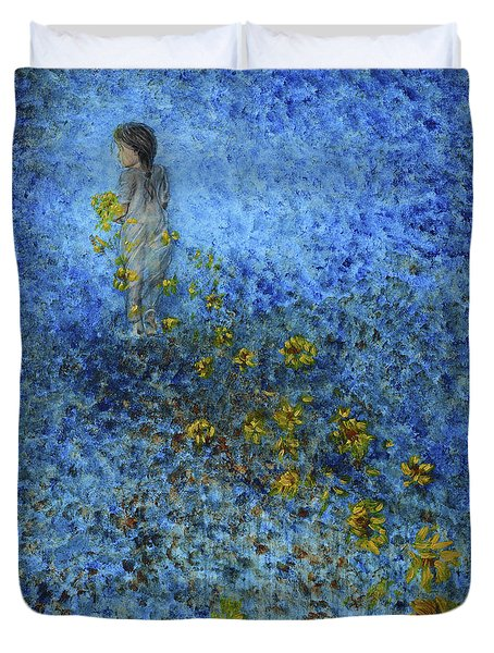 Duvet Cover featuring the painting Traces Sunflowers Lost by Nik Helbig