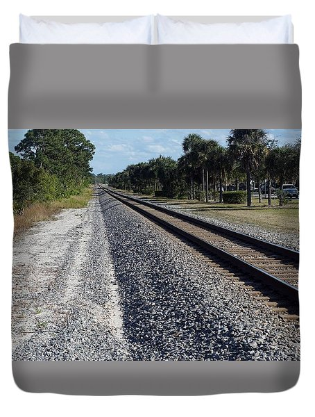 Tracks Hobe Sound, Fl Duvet Cover by John Wartman