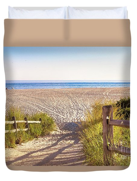 Tracks In The Sand - Cape May Duvet Cover