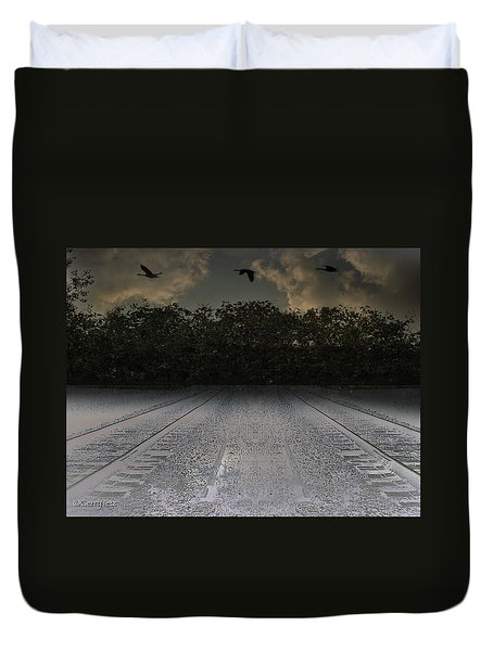 Tracks In The Sky Duvet Cover