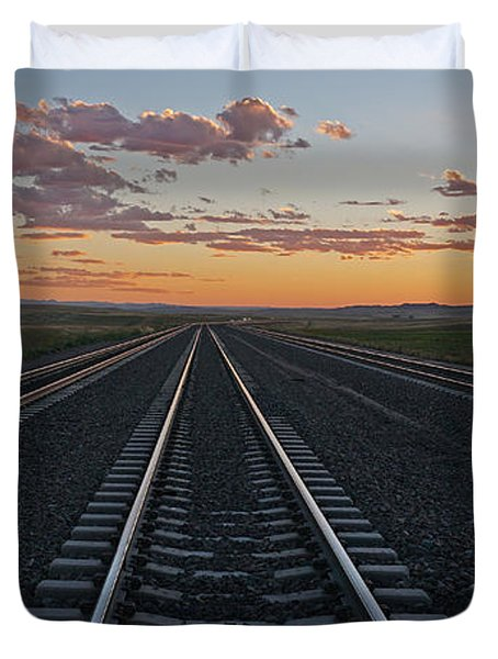 Duvet Cover featuring the photograph Tracks Into Sunset by Bill Gabbert