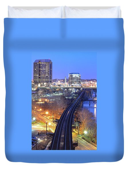 Tracks Into The City Color Duvet Cover