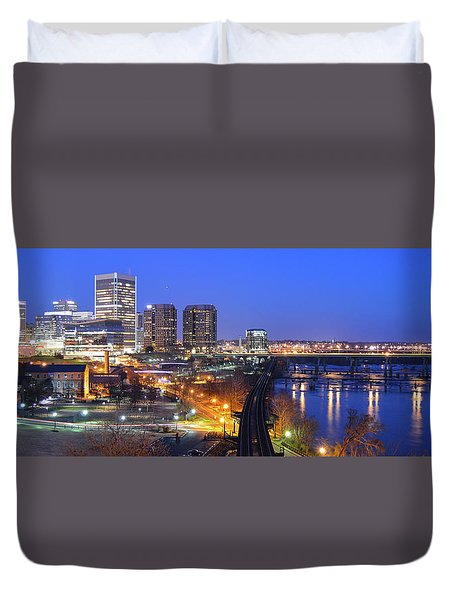 Tracks Into The City Wide Angle Duvet Cover
