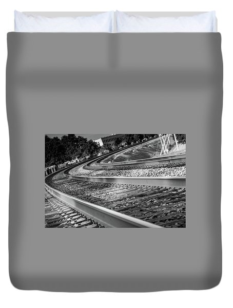 Duvet Cover featuring the photograph Tracks Through Historic Buford by Doug Camara