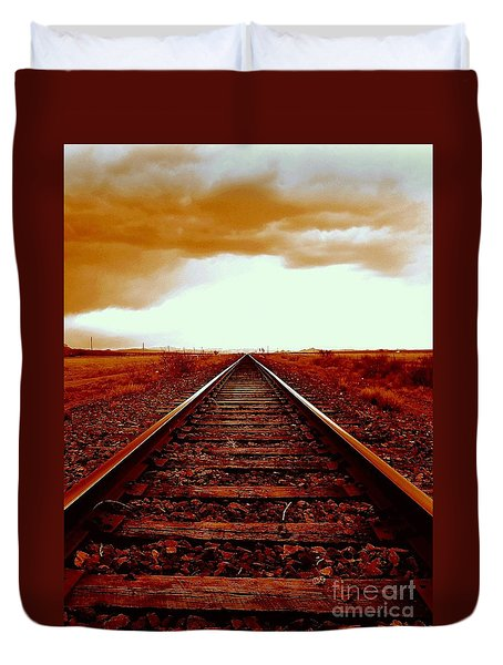 Marfa Texas America Southwest Tracks To California Duvet Cover by Michael Hoard