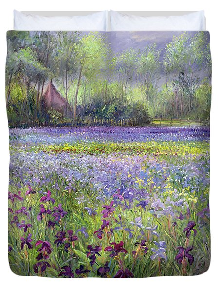Trackway Past The Iris Field Duvet Cover by Timothy Easton